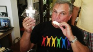 Michael eating Cross cookie
